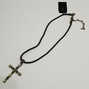 Cookie Lee green stone cross on cord necklace